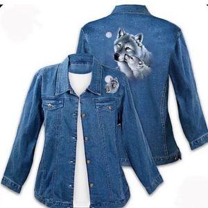 Bradford Exchange Wolf Art Denim Jacket